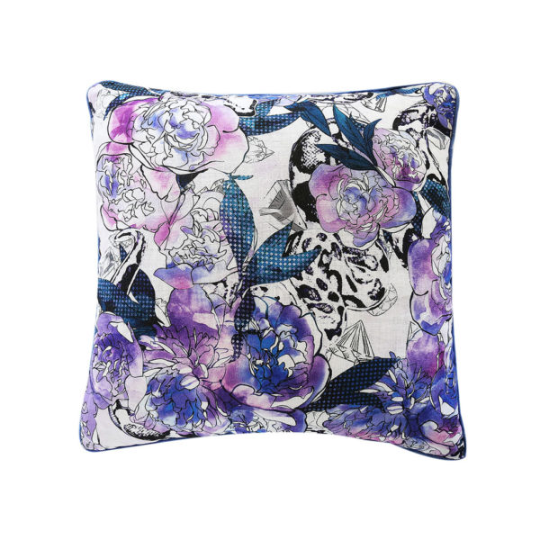 Blue Peonie Cushion - Front