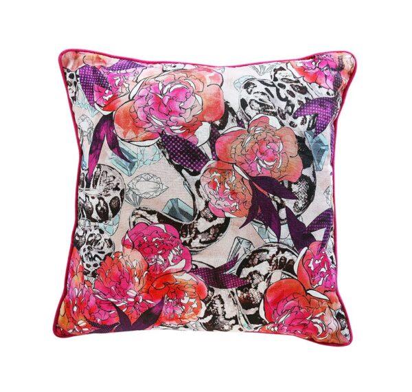 Snakes & Peonies Cushion – Pink