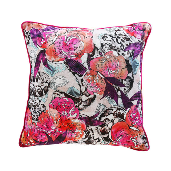 Pink Peonie Cushion - Front
