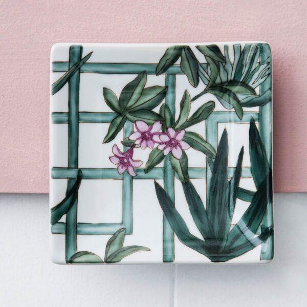 Ceramic Dish - Trellis Garden - Hand Painted