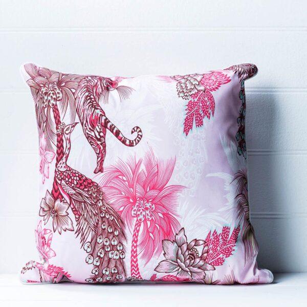 Cushion - Tiger and Peacock - Pink