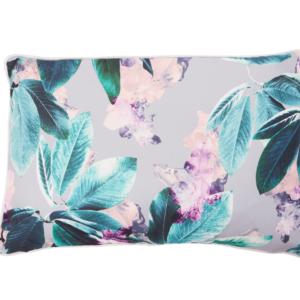 In Bloom - Outdoor Cushion Tropical Leaf Grey Multi