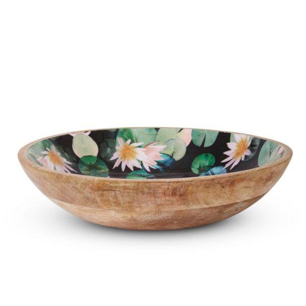 Mangowood Salad Bowl - Dark Lily Black Green