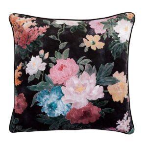 Velvet Cushion - Black Floral