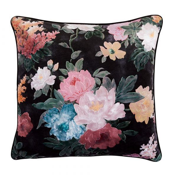Velvet Cushion - Black Floral