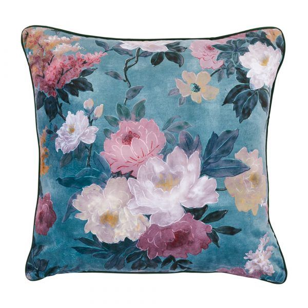 Velvet Cushion - Green Floral