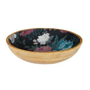 Mangowood Bowl - Black Floral