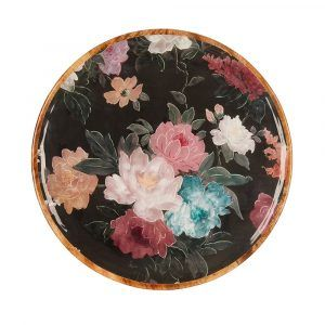 Mangowood Platter - Black Floral