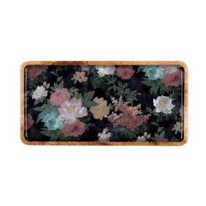 Mangowood Large Platter - Black Floral