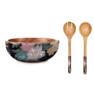 Mangowood Bowl Server Set - Black Floral