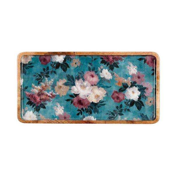 Mangowood Large Platter - Green Floral