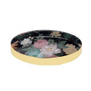 Brass Tray - Black Floral