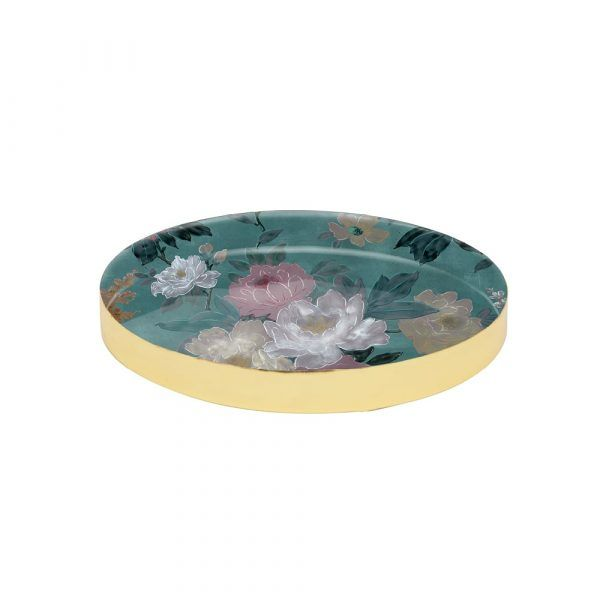 Brass Tray - Green Floral