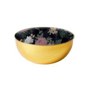 Brass Bowl - Black Floral