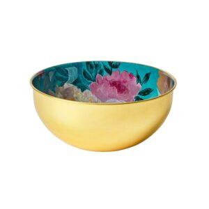 Brass Bowl - Green Floral