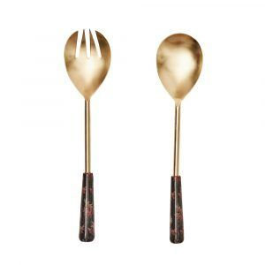 Brass Servers - Black Floral