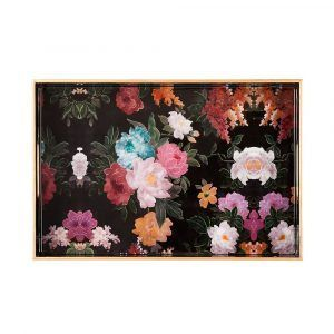 Laquered Wood Tray - Black Floral