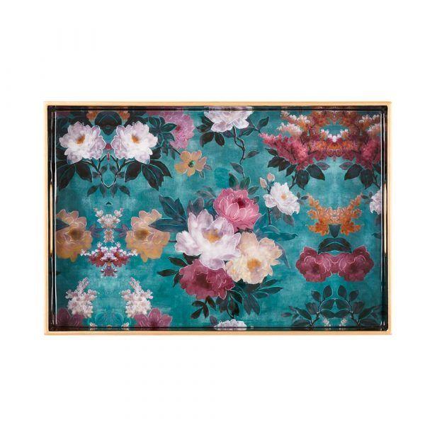 Laquered Wood Tray - Green Floral