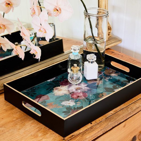 Lacquered Tray - Green Floral